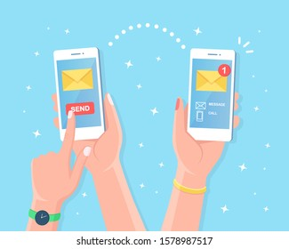 Hand hold white smartphone with message notification, send button, closed envelope on screen. Mobile phone alert about new email. Sending and received sms concept. Vector cartoon design