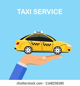 Hand hold yellow taxi car isolated on background. Cab service, automobile. City passenger transport. Vector flat illustration.