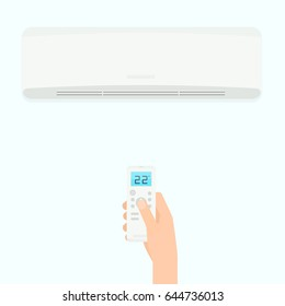 Hand holding air conditioner remote control. Vector illustration isolated on white background