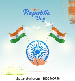 Hand Holding Ashoka Wheel With Indian Flags And Doves Flying On Glossy Blue Halftone Effect Background For Happy Republic Day.