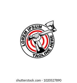 hand holding axe, axe throwing vector logo template