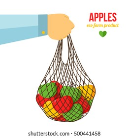 Hand holding bag with apples. Eco farming healthy vegetarian or vegan diet. Agriculture concept. Banner template with place for your text. Vector illustration