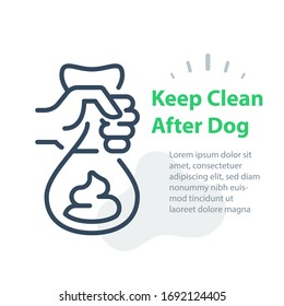 Hand holding bag with dog poop, please keep clean after your pet, pick up and remove, vector line icon