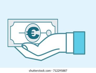 hand holding baknote cash payment