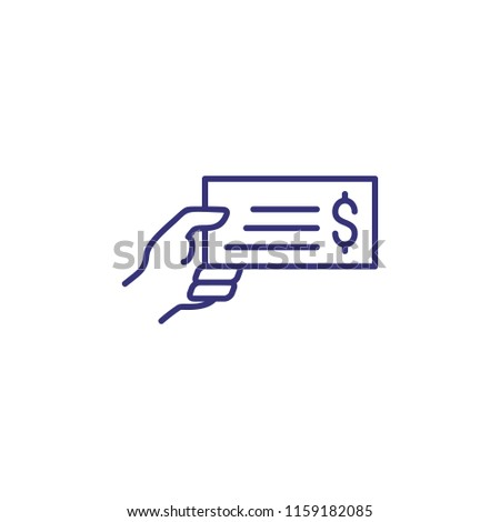 Hand Holding Bank Bill Line Icon Stock Vector (Royalty Free