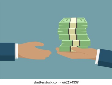 Hand holding banknotes and giving it to a businessman needing money