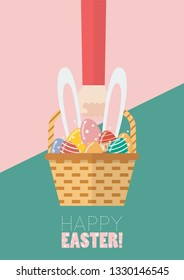 Hand holding a basket full of easter eggs and bunny ears. Greeting card Vector illustration
