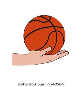 Hand holding basketball ball