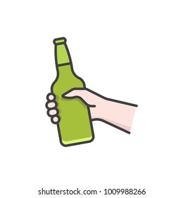 Hand holding beer bottle flat line colored icon.