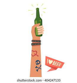 A hand holding beer bottle. A hand with Love and Skull tattoos and leather bracelets. Colorful vector illustration in flat style isolated on white