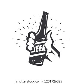 hand holding beer bottle, stylized vector symbol in retro style, logo template
