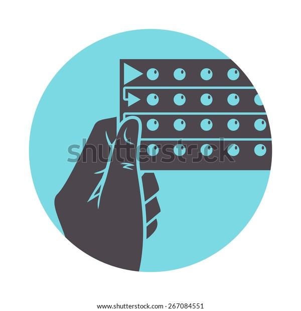 Hand holding birth control pills, vector illustration