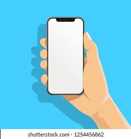 Hand holding black bazelless smartphone and finger touch, click on blank white screen on blue background with shadow. Human, Man, Woman using mobile phone, flat cartoon design concept.
