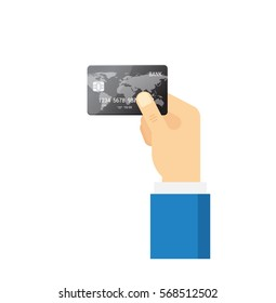 Hand holding black Credit Card - vector isolated icon. Payment concept in flat style.