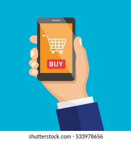 Hand holding black smartphone. E-commerce flat design concept. Mobile shopping button, flat design isolated on biue background. Vector flat illustration icon.
