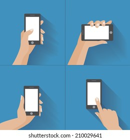 Hand holding black smartphone, touching blank white screen. Using mobile smart phone, flat design concept. Eps 10 vector illustration