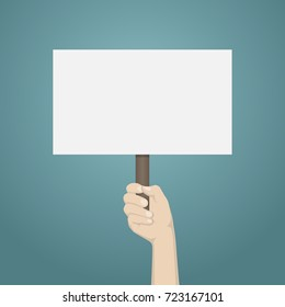 Hand holding blank banner mock up on wood stick.Vector illustration empty white board plank holder in hands.