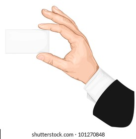 Hand holding blank business card with copy-space. vector illustration