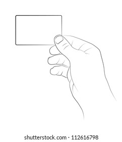 Hand holding a blank business card, Vector image.