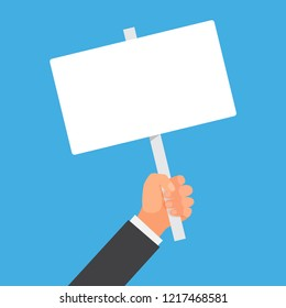 Hand holding blank placard. Empty space for text. Poster empty, protest announcement board. Vector illustration