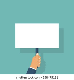 Hand holding blank placard. Protest concept. Blank board advertising, ads, messages. Empty space for text. Vector illustration flat design. Isolated on background.
