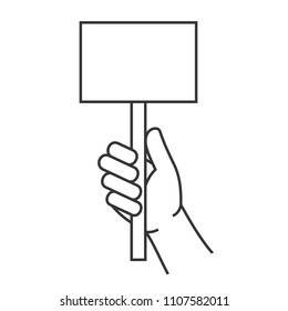 Hand Holding Blank Score Card Sign. Vector