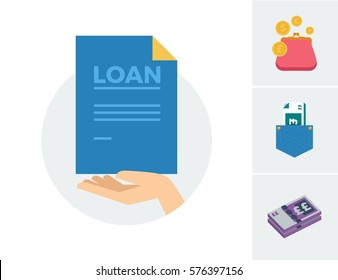A hand holding a blue piece of paper with the words LOAN with accompanying wallet with coins, bank notes in a jean pocket and a wad of cash vector illustration icons