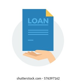 A hand holding a blue piece of paper with the words LOAN vector illustration icon