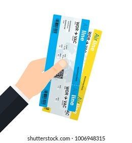 Hand holding boarding pass tickets. Tourism, avia ticket sales, air travel. Vector illustration