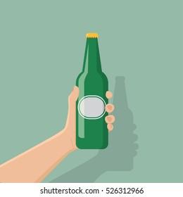 hand holding bottle beer, flat design, vector illustration eps10.