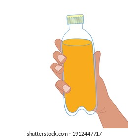 Hand holding a bottle of soda.