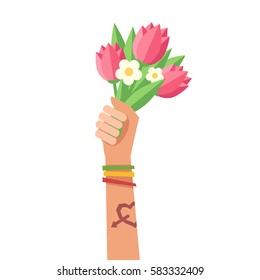 A hand up holding bouquet of flowers. A hand with Love tattoo and colorful friendship bracelets. Colorful vector illustration in flat style isolated on white