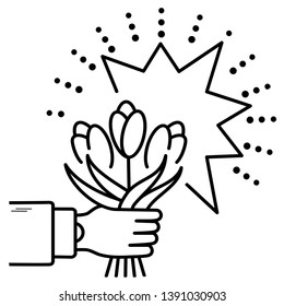 Hand holding a bouquet of flowers in outline style on white background