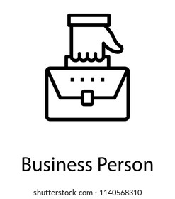 A hand holding briefcase depicting businessperson