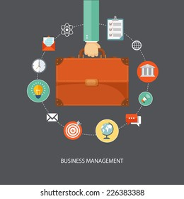 Hand holding briefcase with icons. Business management flat illustration.Eps10