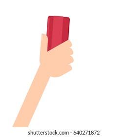hand holding brush eraser. Vector illustration isolated on white background