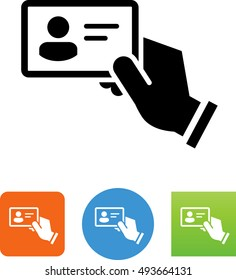 Hand Holding Business Card / ID Card Icon