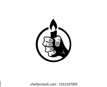 Hand Holding a Candle for a bright light of faith. Vector Logo Candle - Bright Light Logo - Vector - Logo