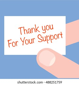 Hand holding card with text - Thank you For Your Support. Business, technology, internet concept. Vector illustration