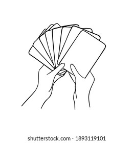 Hand holding cards white, illustration vector. Template for playing cards , tarot cards, other