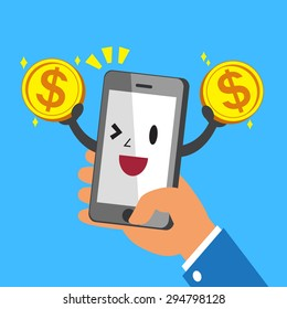 Hand holding cartoon smartphone and earning money