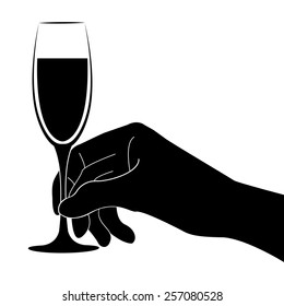 Hand holding champagne glass vector icon - black illustration