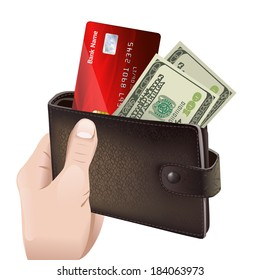 Hand holding classic leather wallet with credit card and money bills isolated vector illustration