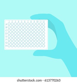 Hand holding clean pcr plate with 96 wells. Stock vector illustration for aids disease diagnostics, cure research.