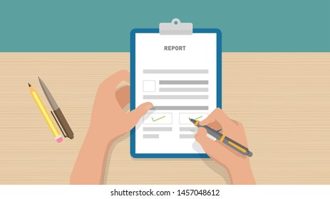 Hand holding clipboard with checklist with green check marks and pen on table. Businessman filling control list on notepad. Concept of Survey, quiz, to-do list or agreement.