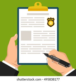 Hand holding clipboard with completed form for police report. Traffic, parking fine, citation, crime report, problems with police, subpoena concepts. Flat vector illustration.