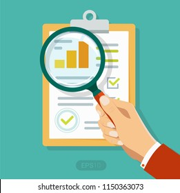 Hand holding Clipboard with Sales growth report, analytics, investigation, boosted sales graph analytics data, research icon analysis on paper sheet magnifier, statistics result with analyzing, audit