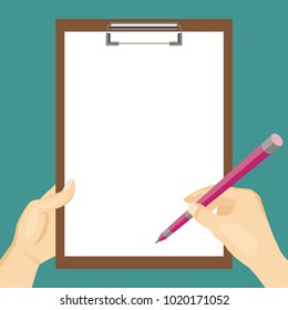 hand holding clipboard white blank sheet stock vector royalty free