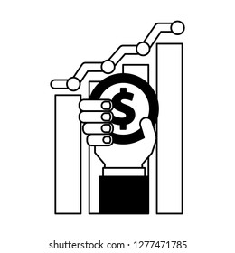 hand holding coin dollar chart business