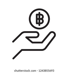 Hand holding coin. Thai baht money icon. Simple flat design. Isolate on white background.